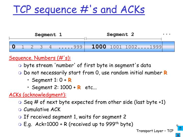 TCP sequence #'s and ACKs
