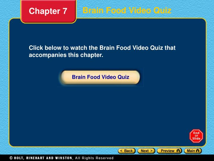 Brain Food Video Quiz