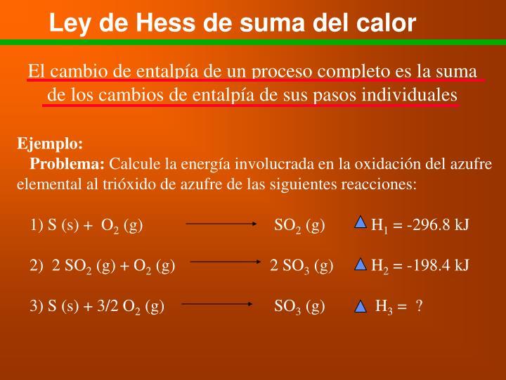 Ley de Hess de suma del calor