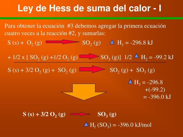 Ley de Hess de suma del calor - I