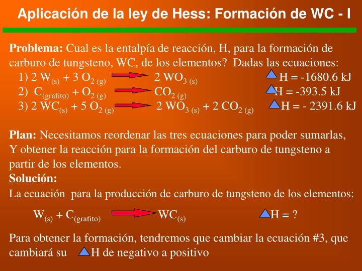 Aplicación de la ley de Hess: Formación de WC - I