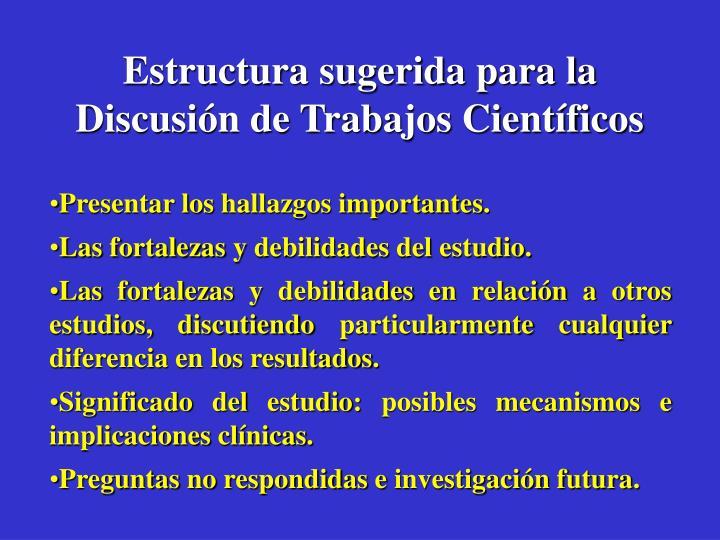 Estructura sugerida para la Discusión de Trabajos Científicos