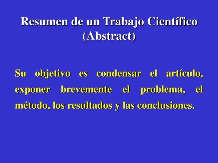 Resumen de un Trabajo Científico (Abstract)