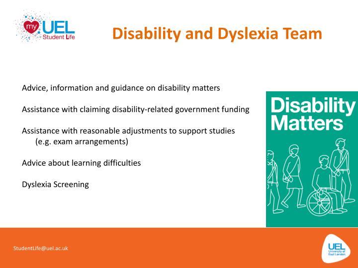 Disability and Dyslexia Team