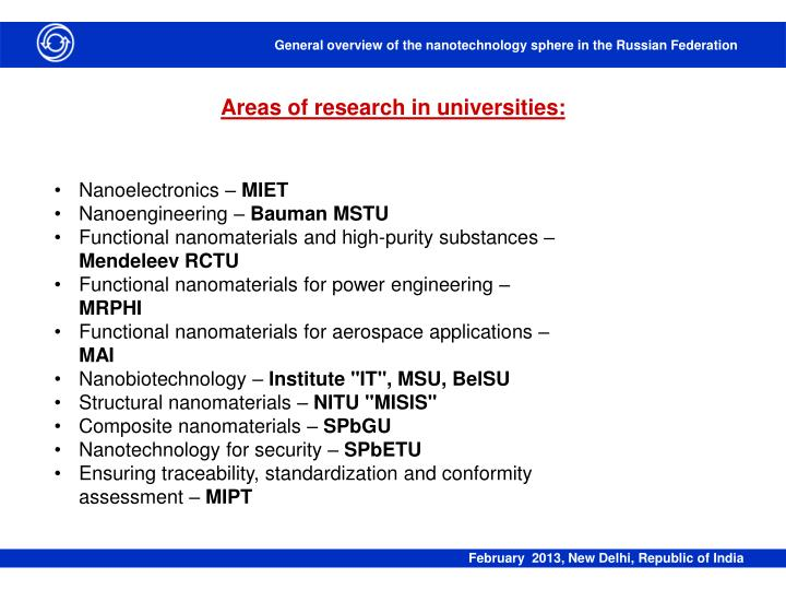 Areas of research in universities: