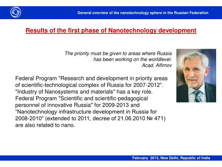 Results of the first phase of Nanotechnology development