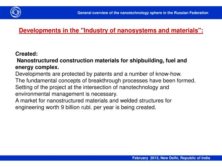 "Developments in the ""Industry of nanosystems and materials"":"