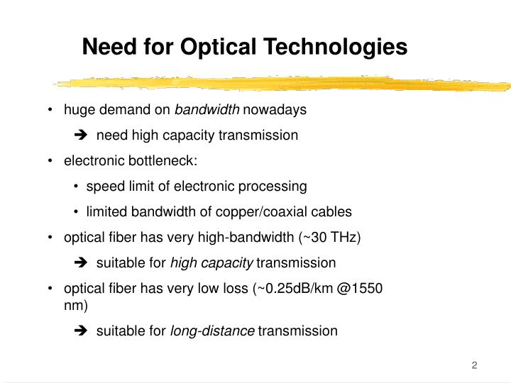 Need for Optical Technologies