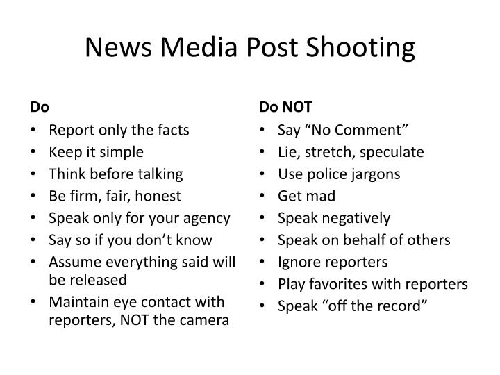 News Media Post Shooting