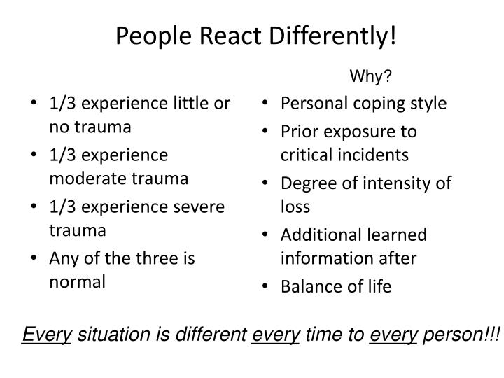 People React Differently!