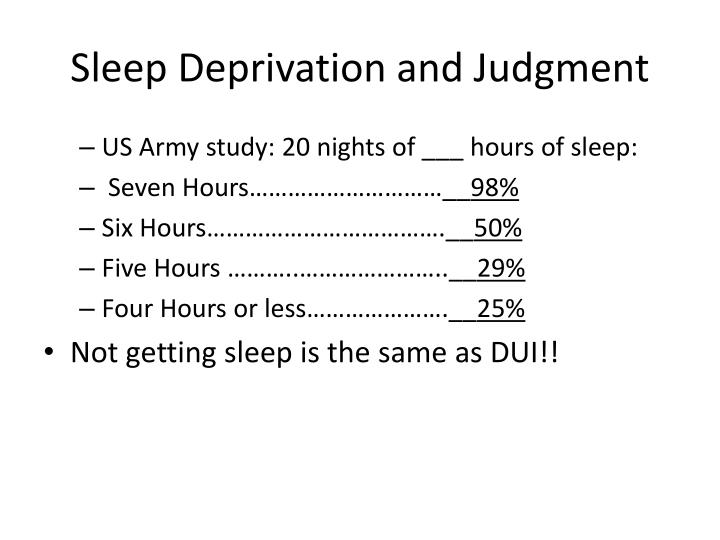 Sleep Deprivation and Judgment