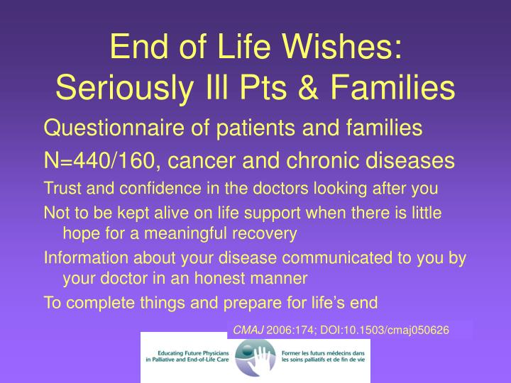 End of Life Wishes: Seriously Ill Pts & Families