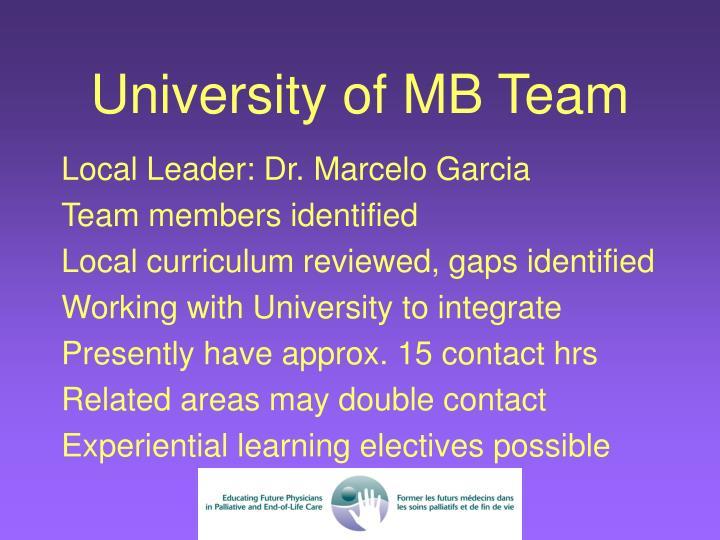 University of MB Team