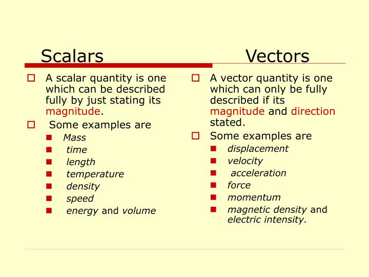 A scalar quantity is one which can be described fully by just stating its