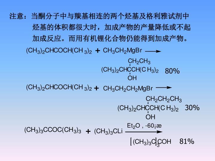 注意:当酮分子中与羰基相连的两个烃基及格利雅试剂中