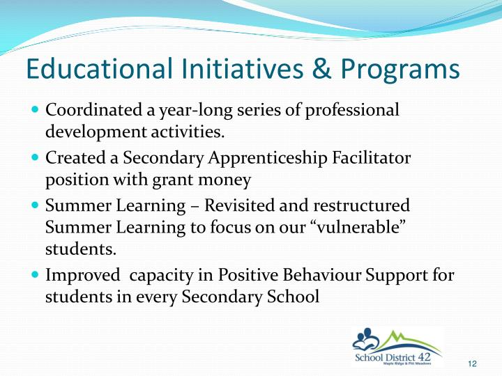 Educational Initiatives & Programs