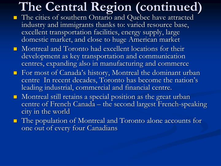 The Central Region (continued)