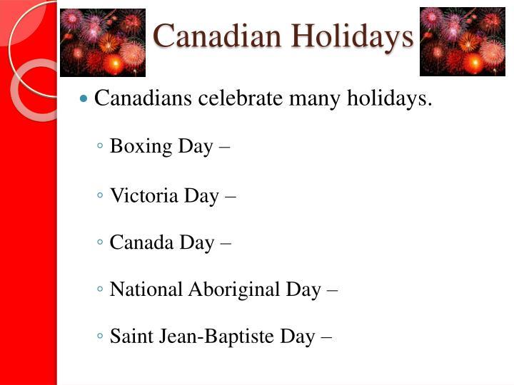 Canadian Holidays