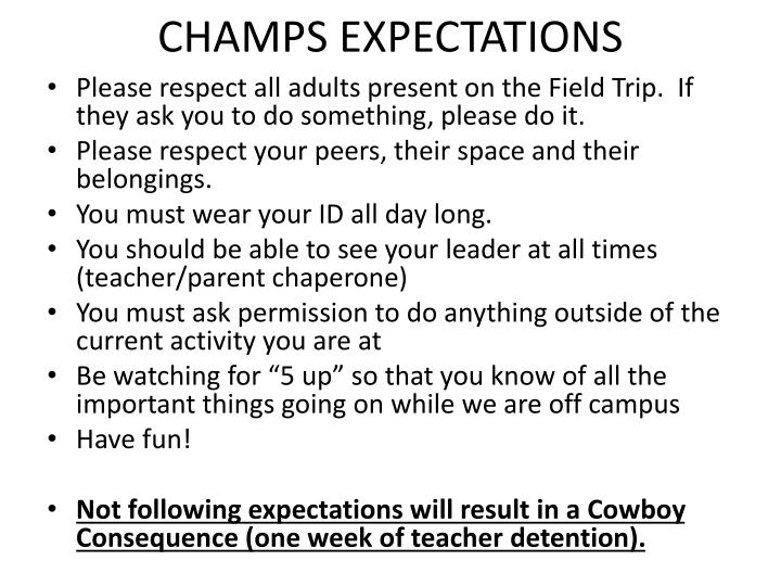 CHAMPS EXPECTATIONS