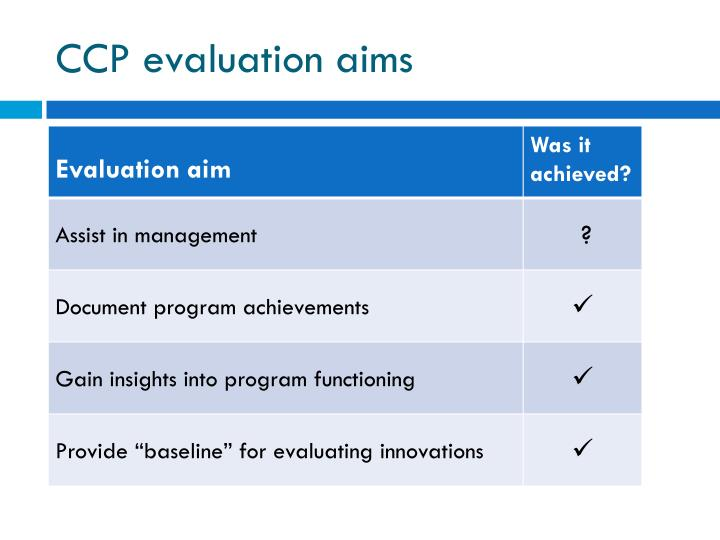 CCP evaluation aims
