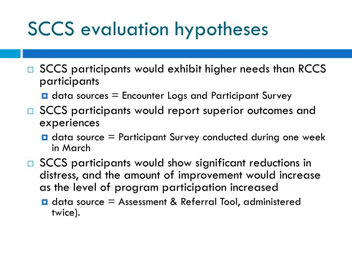 SCCS evaluation hypotheses