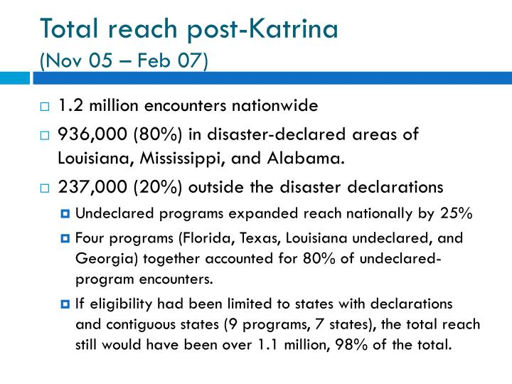 Total reach post-Katrina
