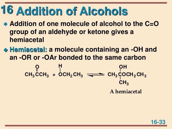 Addition of Alcohols