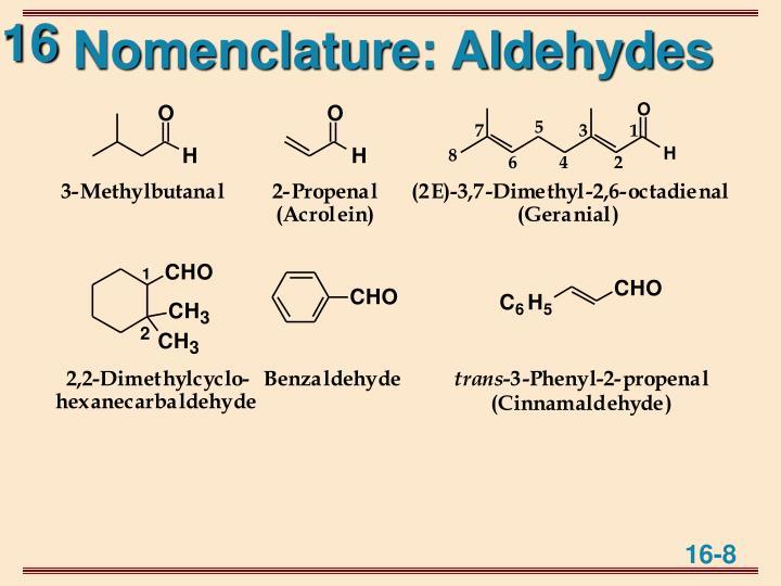 Nomenclature: Aldehydes