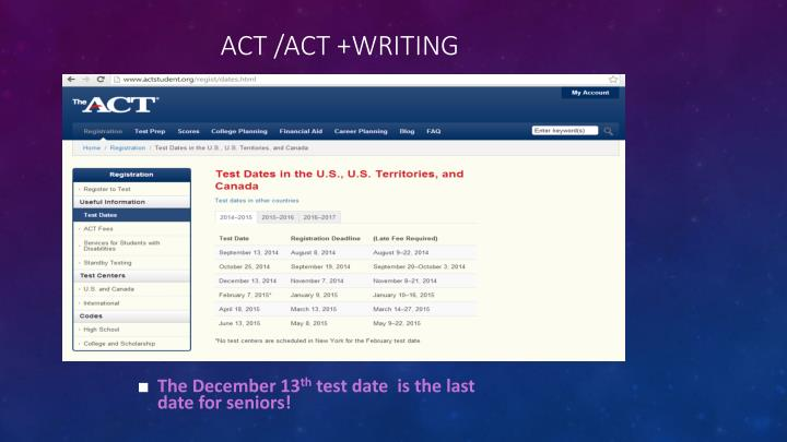 ACT /ACT +Writing