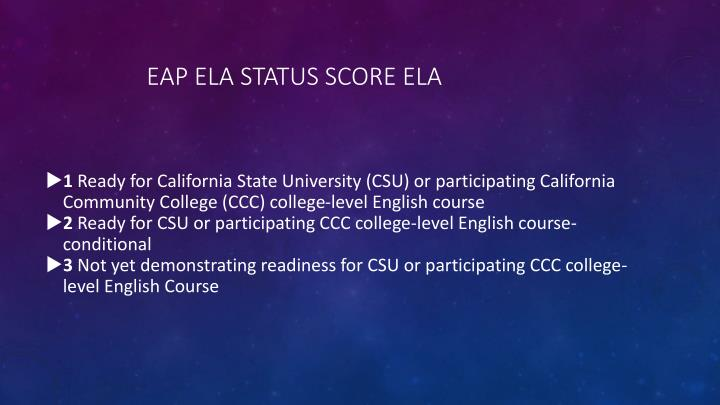 EAP ELA Status Score ELA