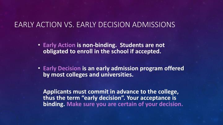 Early Action vs. Early Decision Admissions