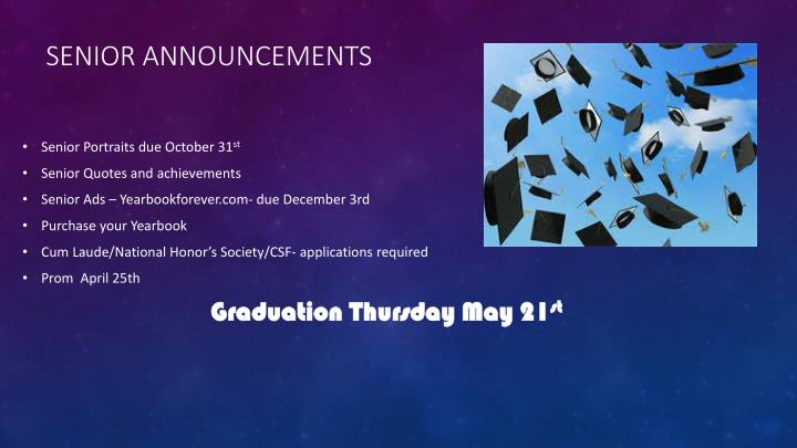 Senior Announcements