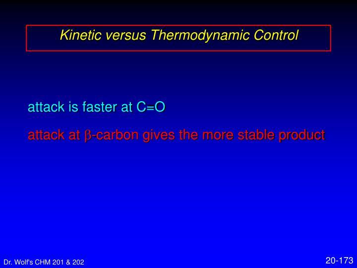 Kinetic versus Thermodynamic Control