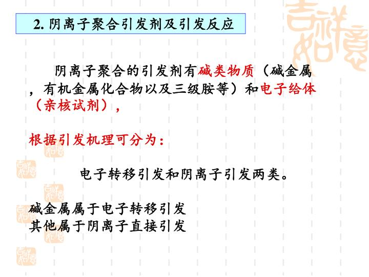 2. 阴离子聚合引发剂及引发反应
