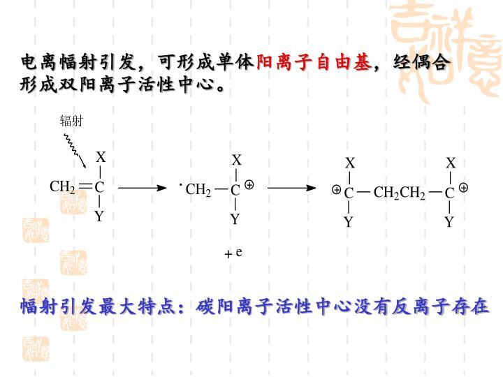 电离幅射引发,可形成单体