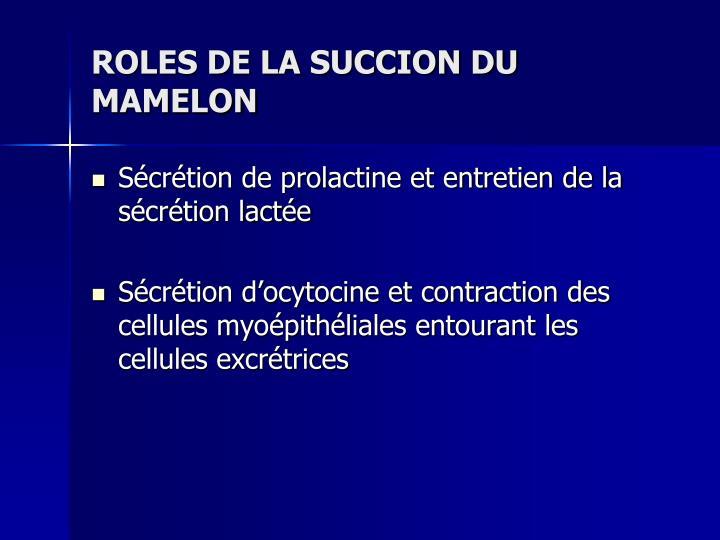 ROLES DE LA SUCCION DU MAMELON