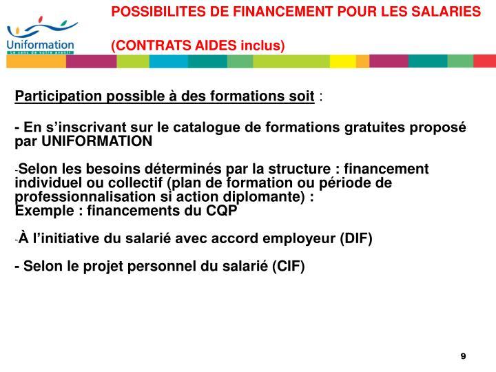 POSSIBILITES DE FINANCEMENT POUR LES SALARIES (CONTRATS AIDES inclus)