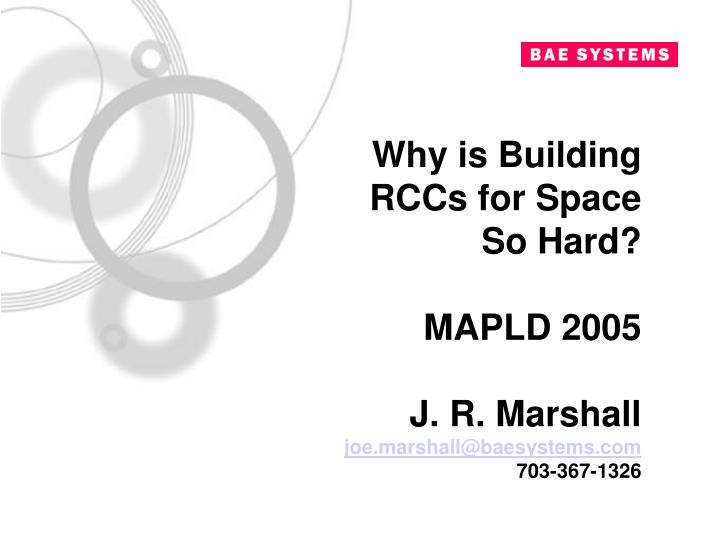 Why is Building RCCs for Space