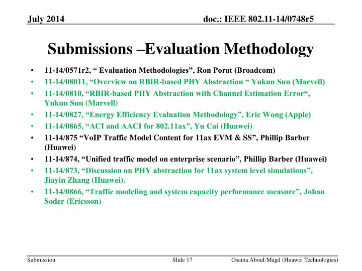 Submissions –Evaluation Methodology