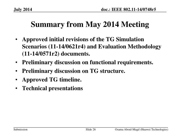 Summary from May 2014 Meeting