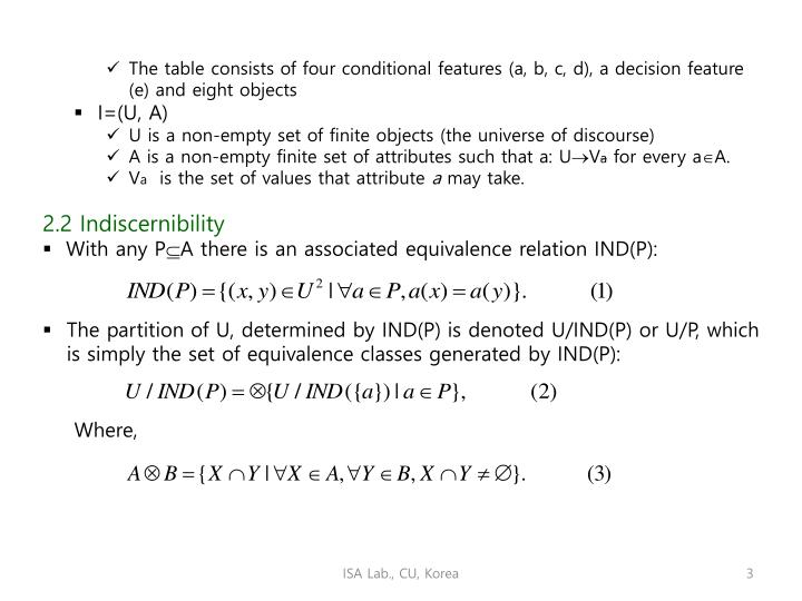 The table consists of four conditional features (a, b, c, d), a decision feature (e) and eight objec...