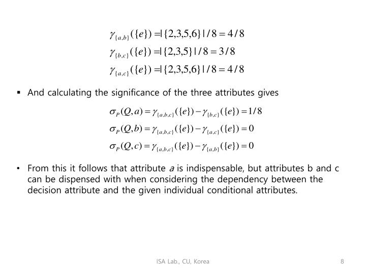 And calculating the significance of the three attributes gives