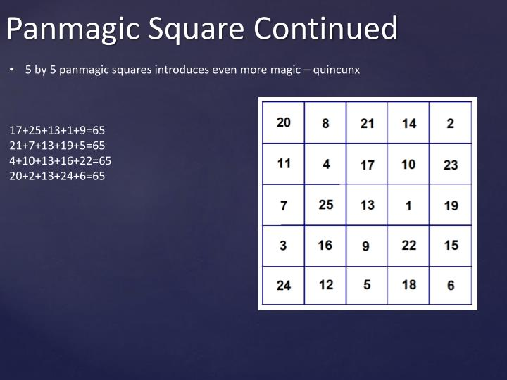 5 by 5 panmagic squares introduces even more magic – quincunx