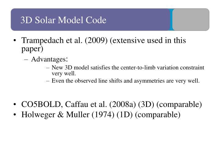 3D Solar Model Code
