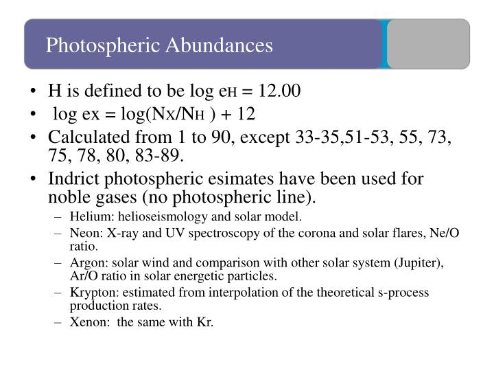 Photospheric Abundances