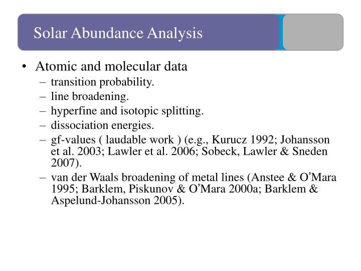 Solar Abundance Analysis