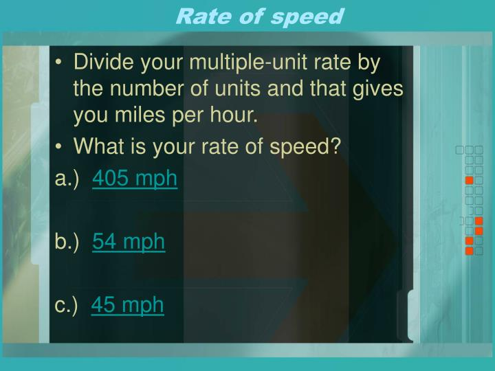 Rate of speed