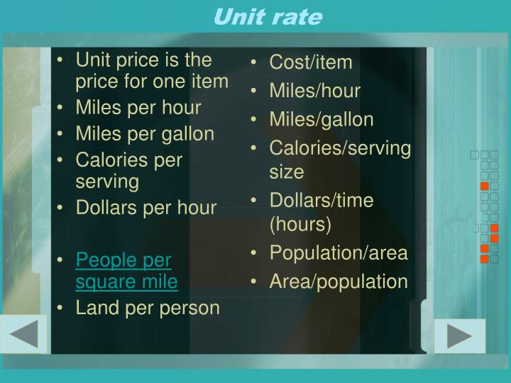 Unit price is the price for one item