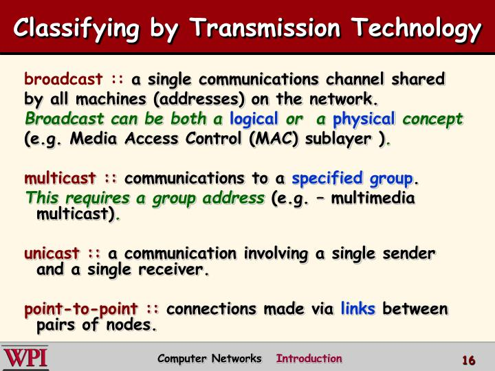 Classifying by Transmission Technology