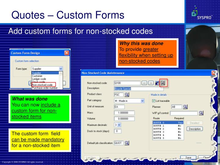 Add custom forms for non-stocked codes